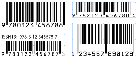 A few sample barcodes rendered by BookBarcode.