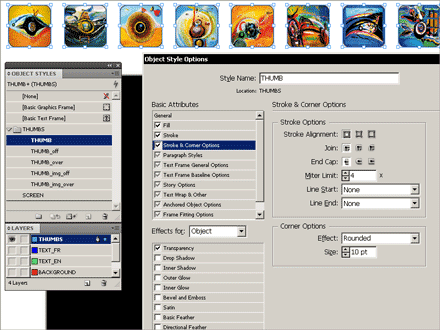 Creating object styles to customize the appearance for different button states (mouse over, mouse click, etc.).
