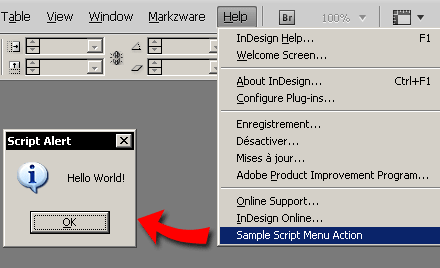 Sample Script Menu Action connected to a Menu Item.