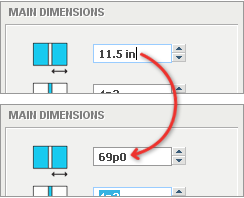 Unit conversion from a measurement edit field.