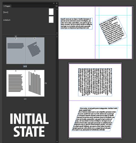 Initial state of the pages.