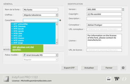 Interface d'IndyFont 1.1 pour InDesign CS4/CS5/CS6