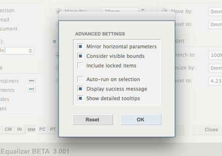 Advanced settings panel.