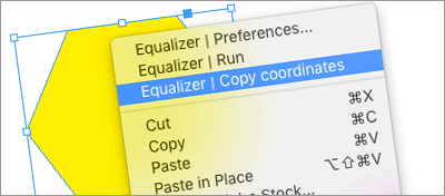 Select an object and right-click to copy its coordinates into Equalizer.