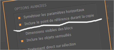 L'option « Inclure le point de référence pendant la copie » permet de lier l'ancre d'Equalizer à celle d'InDesign.