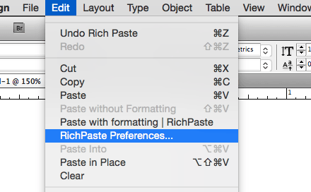 Calling the Preferences dialog from InDesign's Edit menu.