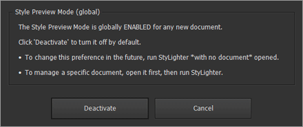 "Global ""Style Preview"" preference for new documents"