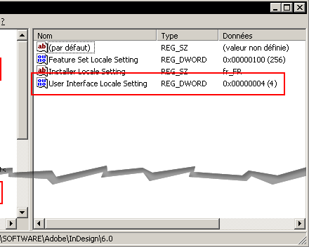InDesign User Interface Locale Setting viewed from a French Windows Registry (XP).