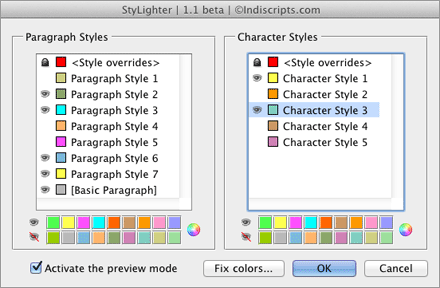 Dialogue principal de StyLighter (script pour InDesign CS4, CS5, CS6, CC)