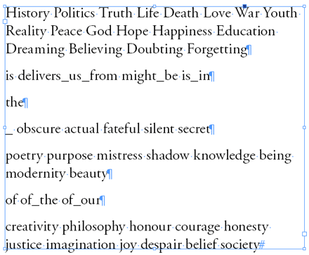 Sample words to be used in random aphorisms.