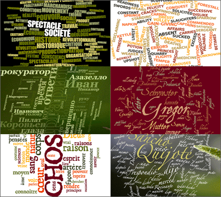 Sample word clouds designed with Wordalizer (PDF, 7 pages)
