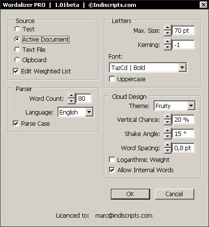 The Wordalizer dialog box (Windows).